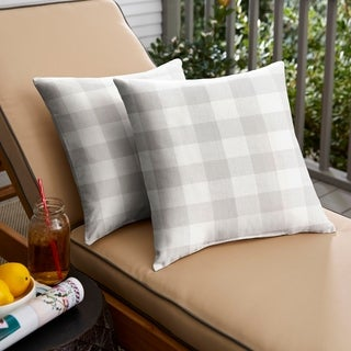 Humble + Haute Grey Buffalo Plaid Indoor/ Outdoor Square Pillow, Set of 2