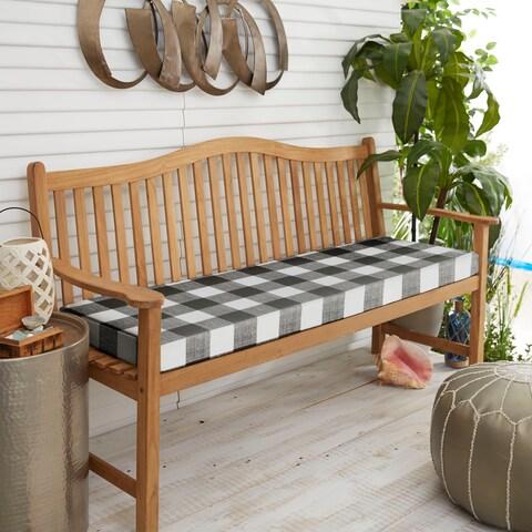 Humble + Haute Black Buffalo Plaid Indoor/ Outdoor Bench Cushion