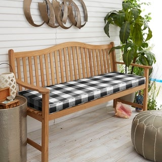 Humble + Haute Black Buffalo Plaid Indoor/ Outdoor Bench Cushion (2 options available)