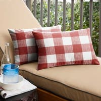 Humble + Haute Red Buffalo Plaid Indoor/ Outdoor Lumbar Pillow, Set o 2 - 13 in h x 20 in w