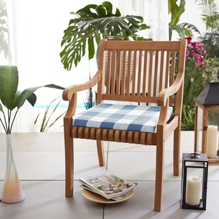 Humble + Haute Dark Blue Buffalo Plaid Indoor/ Outdoor Chair Cushion, Set of 2 (2 options available)