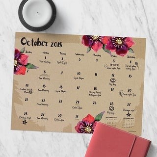 July 2018 - June 2019 Floral Mini Desk Pad Calendar
