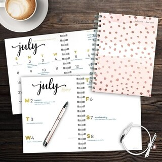 July 2018 - June 2019 Dots Medium Weekly Monthly Planner
