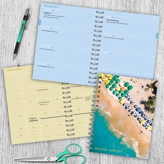 July 2018 - June 2019 Tropical Beaches Medium Weekly Monthly Planner