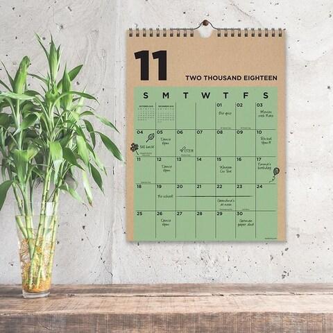 July 2018 - June 2019 Kraft Monthly Wall Calendar