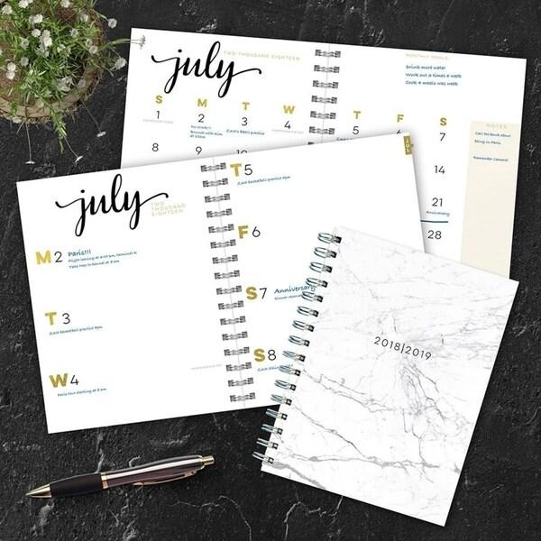 july 2018 june 2019 marble medium weekly monthly planner