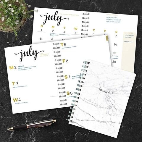 July 2018 - June 2019 Marble Medium Weekly Monthly Planner