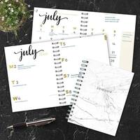 July 2018 - June 2019  Marble Medium Weekly Monthly Planner