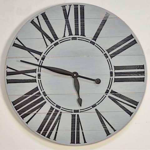 Oversized Gray Farmhouse Wall Clock