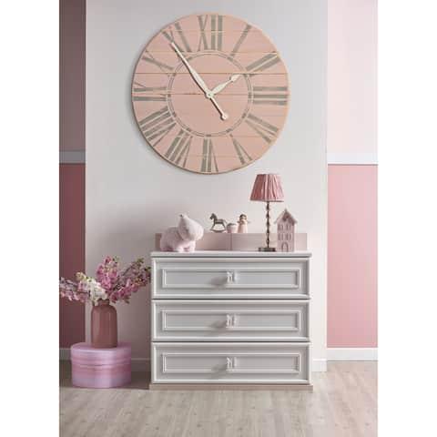 Vintage Tea Rose Farmhouse Wall Clock