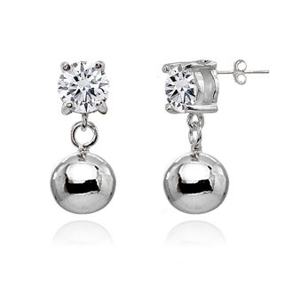 ICZ Stonez 4mm Dangling Cubic Zirconia Round Bead Stud Earrings in Sterling Silver
