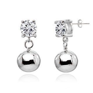 ICZ Stonez 5mm Dangling Cubic Zirconia Round Bead Stud Earrings in Sterling Silver