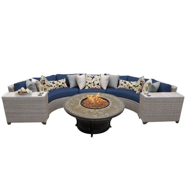Marina Oh0373 6 Piece Outdoor Patio Wicker Sectional Set With Fire Pit