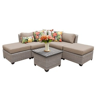 Marina OH0377 6-Piece Outdoor Patio Wicker Sectional Set with Ottomans and End Table
