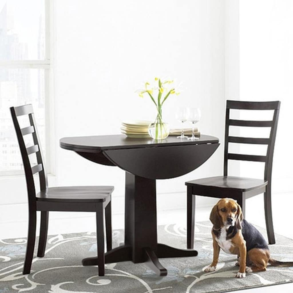Alpine 38 Drop Leaf Table and Two Chair Set (Brown)