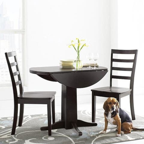 """Alpine 38"""" Drop Leaf Table and Two Chair Set"""
