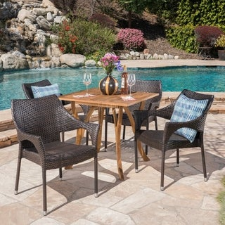 Carroll Outdoor 5 Piece Acacia Wood/ Wicker Dining Set by Christopher Knight Home