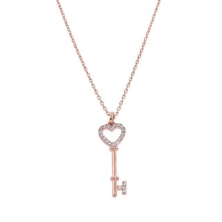 Eternally Haute 14k Rose Gold Plated 'Key to My Heart' Necklace