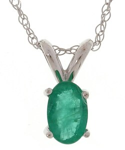 Marquee Jewels 14k White Gold Oval Emerald Pendant