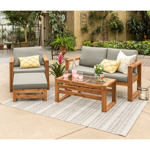 Hudson Open Side 4 Piece Outdoor Patio Chat Set