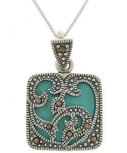Glitzy Rocks Sterling Silver Marcasite Turquoise Square Pendant
