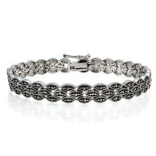 Glitzy Rocks Sterling Silver Marcasite Three Tier Bracelet