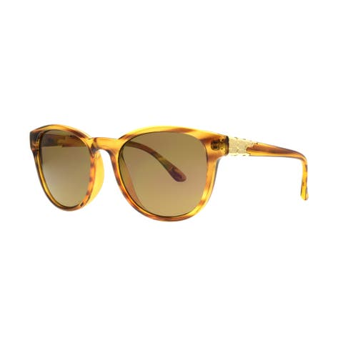 Angel Eyewear Talon Women's Blonde Demi Frame with Brown Lens Sunglasses - Gold - Medium