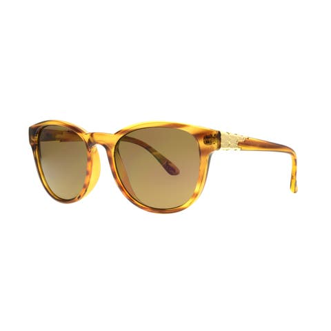 Angel Eyewear Talon Women's Blonde Demi Frame with Brown Lens Sunglasses - Gold - Medium