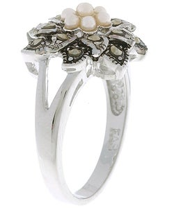 Glitzy Rocks Sterling Silver Marcasite and Synthetic Pearl Floral Ring - Thumbnail 1