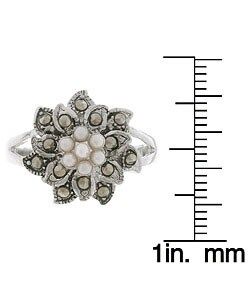 Glitzy Rocks Sterling Silver Marcasite and Synthetic Pearl Floral Ring - Thumbnail 2