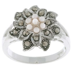 Glitzy Rocks Sterling Silver Marcasite and Synthetic Pearl Floral Ring
