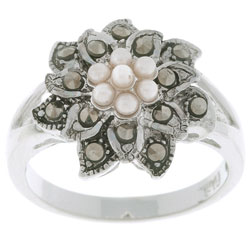 Glitzy Rocks Sterling Silver Marcasite and Synthetic Pearl Floral Ring|https://ak1.ostkcdn.com/images/products/2103517/Glitzy-Rocks-Sterling-Silver-Marcasite-and-Synthetic-Pearl-Floral-Ring-P10387506a.jpg?_ostk_perf_=percv&impolicy=medium