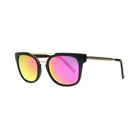 Angel Eyewear Severine Women's Black Frame with Hot Pink Mirror Lens Sunglasses - Medium