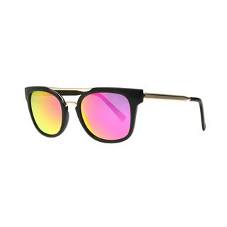 Angel Eyewear Severine Women's Black Frame with Hot Pink Mirror Lens Sunglasses - Medium