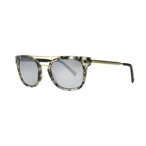 Angel Eyewear Severine Women's Marble Demi Frame with Silver Mirror Lens Sunglasses - Grey/Silver - Medium