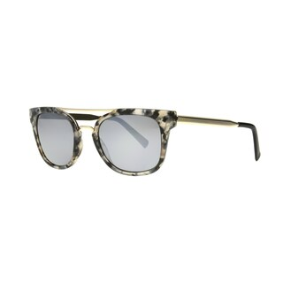 Angel Eyewear Severine Women's Marble Demi Frame with Silver Mirror Lens Sunglasses