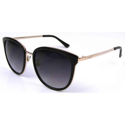 Angel Eyewear Persephone Women's Black Frame Smoke with Smoke Gradient Lens Sunglasses - Gold - Medium