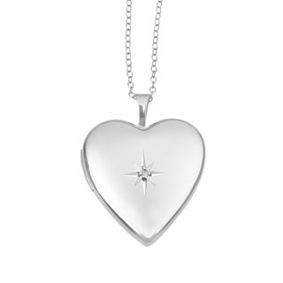 Heart Shape Photo Locket Pendant, Sterling Silver Charm with Necklace Chain