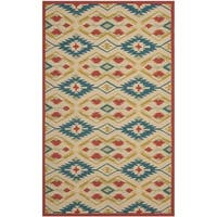 Safavieh Hand-Hooked Four Seasons Southwestern Natural/ Blue Polyester Rug (5' x 8')