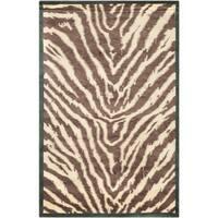 Safavieh Hand-knotted Tibetan Animal Print Black/ Ivory Wool Rug - 6' x 9'
