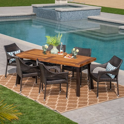 Piper Outdoor 7 Piece Acacia Wood/ Wicker Dining Set by Christopher Knight Home