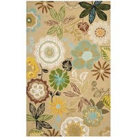 Safavieh Hand-Hooked Four Seasons Taupe/ Multicolored Rug (5' x 7')