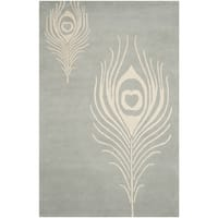 Safavieh Hand-Tufted Soho Grey/ Ivory Wool/ Viscose Rug (6' x 9')