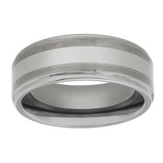 Men's Tungsten Carbide Fancy Band (8 mm)|https://ak1.ostkcdn.com/images/products/2105033/P10388718.jpg?impolicy=medium