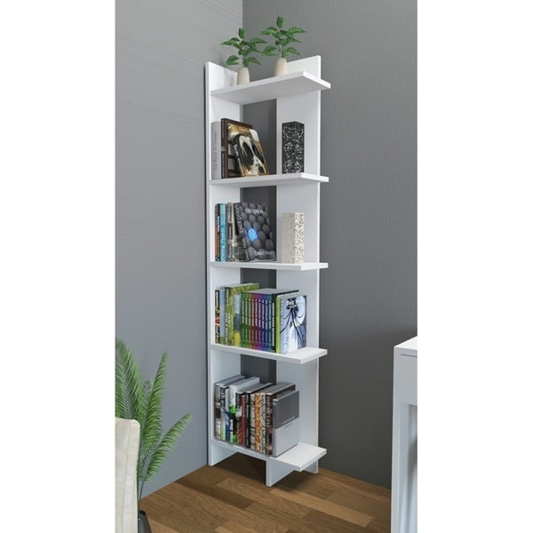 Decorotika Alice 67 Accent Corner Bookcase 5 Tier