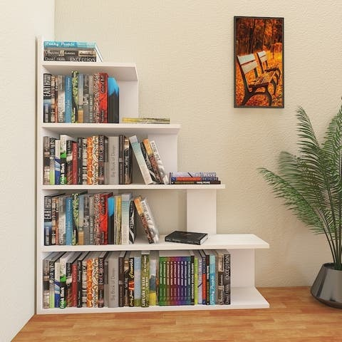Decorotika Echo 47'' Tall Modern Ladder Style 5-Tier Accent Bookcase - 47.2'' H x 35.4'' W x 8.6'' D