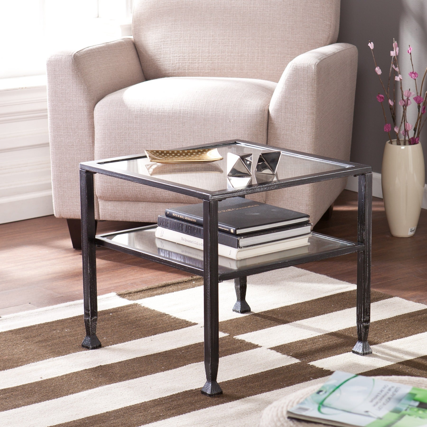 Clay Alder Home Sorlie Metal and Glass Square Cocktail Table