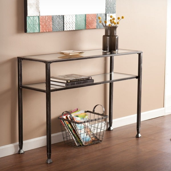 harper blvd distressed black metal sofa table