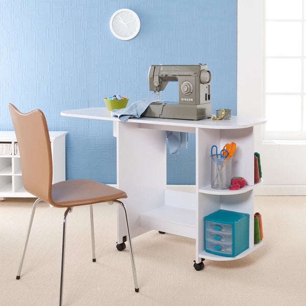 Harper blvd white folding sewing machine table free for Arts and crafts sewing machine