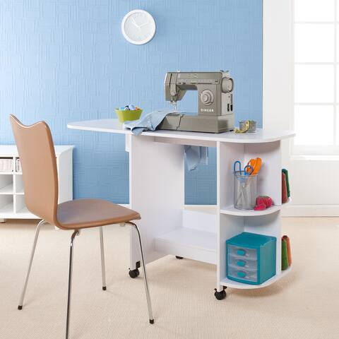 Harper Blvd White Folding Sewing Machine Table